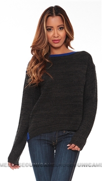 John & Jenn Charcoal and Blue Georgi Sweater