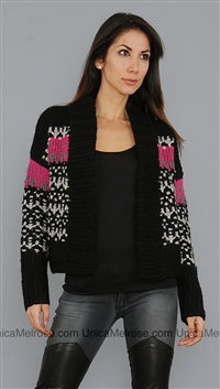 John & Jenn Black and Pink Garcia Sweater Coat