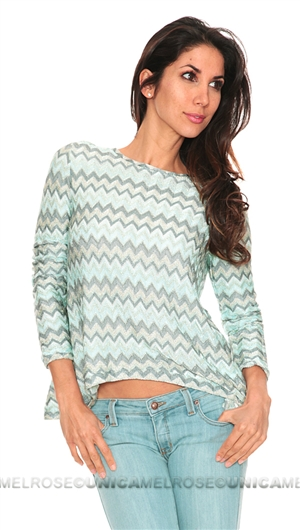 Generation Love Judy Light Mint Zig Zap Stripe Open Back Long Sleeve Sweater