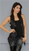 One Teaspoon Black Sequin Starman Vest