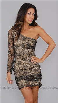 Kimikal Black Gold Lace One Shoulder Dress