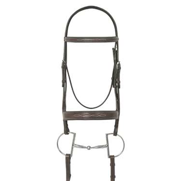 Ovation® Fancy Stitched Wide Noseband Padded Bridle with Raised Fancy Stitched Laced Reins