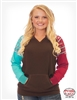 COWGIRL TUFF WOMEN'S CHOCOLATE LONG SLEEVE TEE WITH TURQUOISE AND RED RAGLAN AZTEC SLEEVES