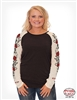 COWGIRL TUFF WOMEN'S  BLACK BURNOUT LONG SLEEVE TEE WITH CREAM RAGLAN ROSE PRINT SLEEVES