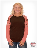 COWGIRL TUFF WOMEN'S CHOCOLATE LONG SLEEVE TEE WITH CORAL RAGLAN AZTEC SLEEVES