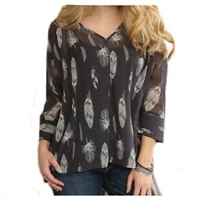 CRUEL GIRL WOMEN'S SHEER GREY & WHITE FEATHER 3/4 SLEEVE TOP