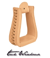 Natural Leather Covered Stirrups, Roper