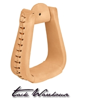Natural Leather Covered Stirrups, Overshoe Roper