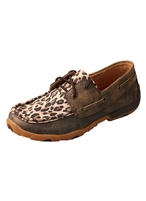 TWISTED X WOMEN'S DRIVING MOCCASINS - DISTRESSED/LEOPARD
