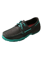 TWISTED X WOMEN'S DRIVING MOCCASINS - BLACK/LUSH GREEN