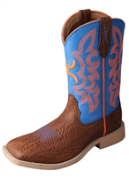 Twisted X Youth Hooey NWS Toe - Cognac Bull Hide/Neon Blue