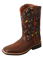 Twisted X Youth Top Hand NWS Toe - Brown/Arrow Cactus