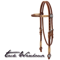 Harness Leather Browband Headstall with Conchos and Rawhide Accents