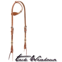Harness Leather Flat Sliding Ear Headstall with Rawhide Accents