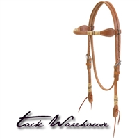 Harness Leather Browband Headstall with Rawhide Accents