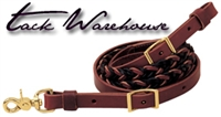 "Two-Tone Latigo Leather 5-Plait Roper Rein, 3/4"" x 8'"