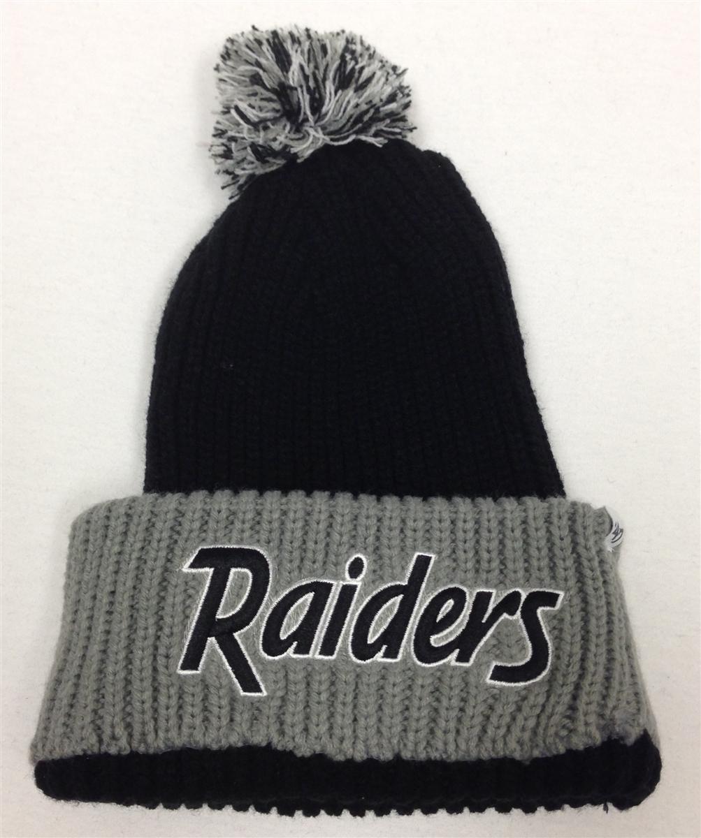 The 47 Brand Step Back Oakland Raiders Pom Ribbed Beanie Black Gray 23696a20401