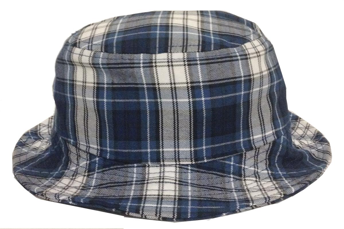 Blue Black White Plaid Bucket Hat 4ab8bc7e0f3