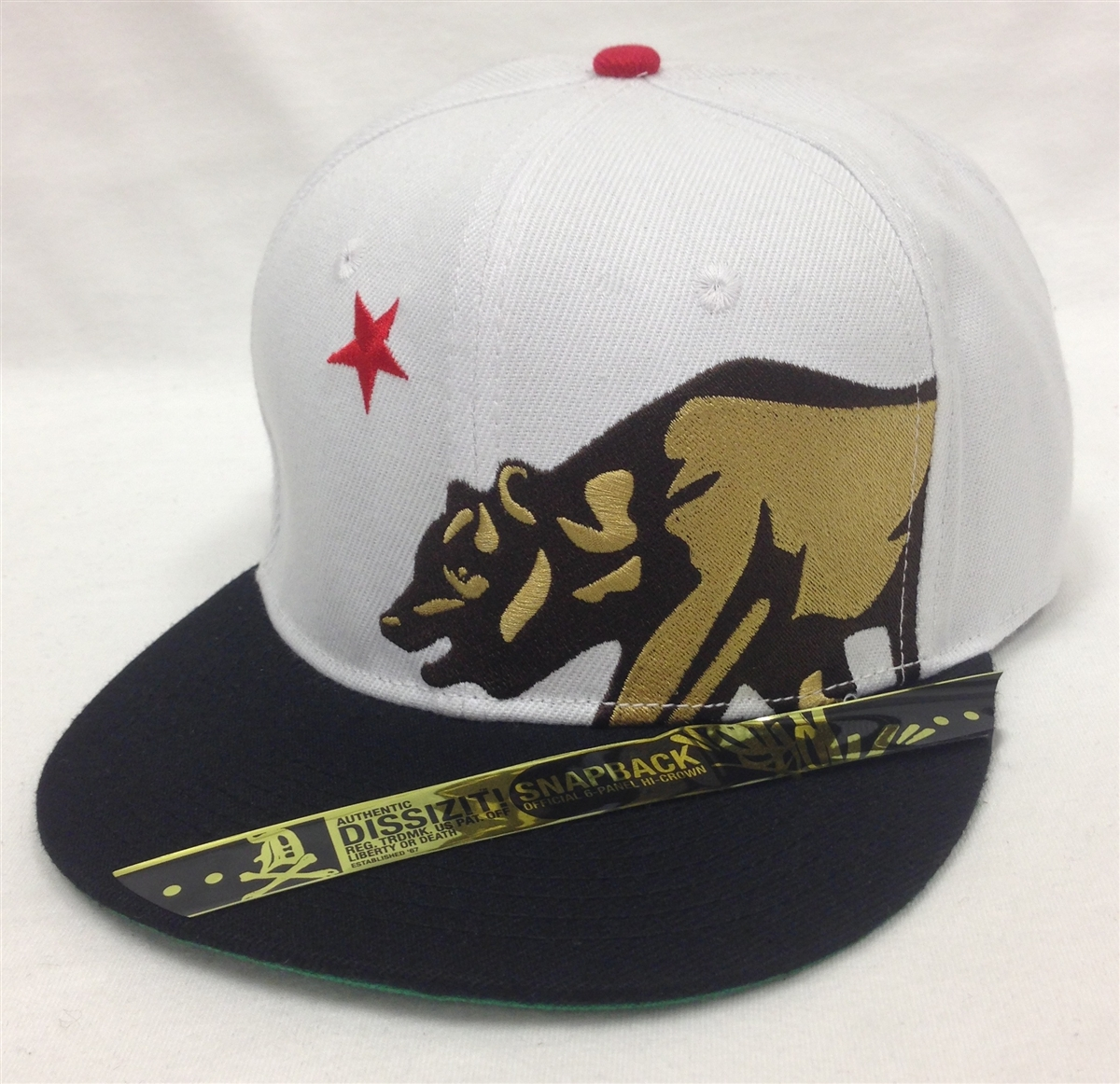 b695f71c Dissizit! California Republic Bear White & Black Snapback