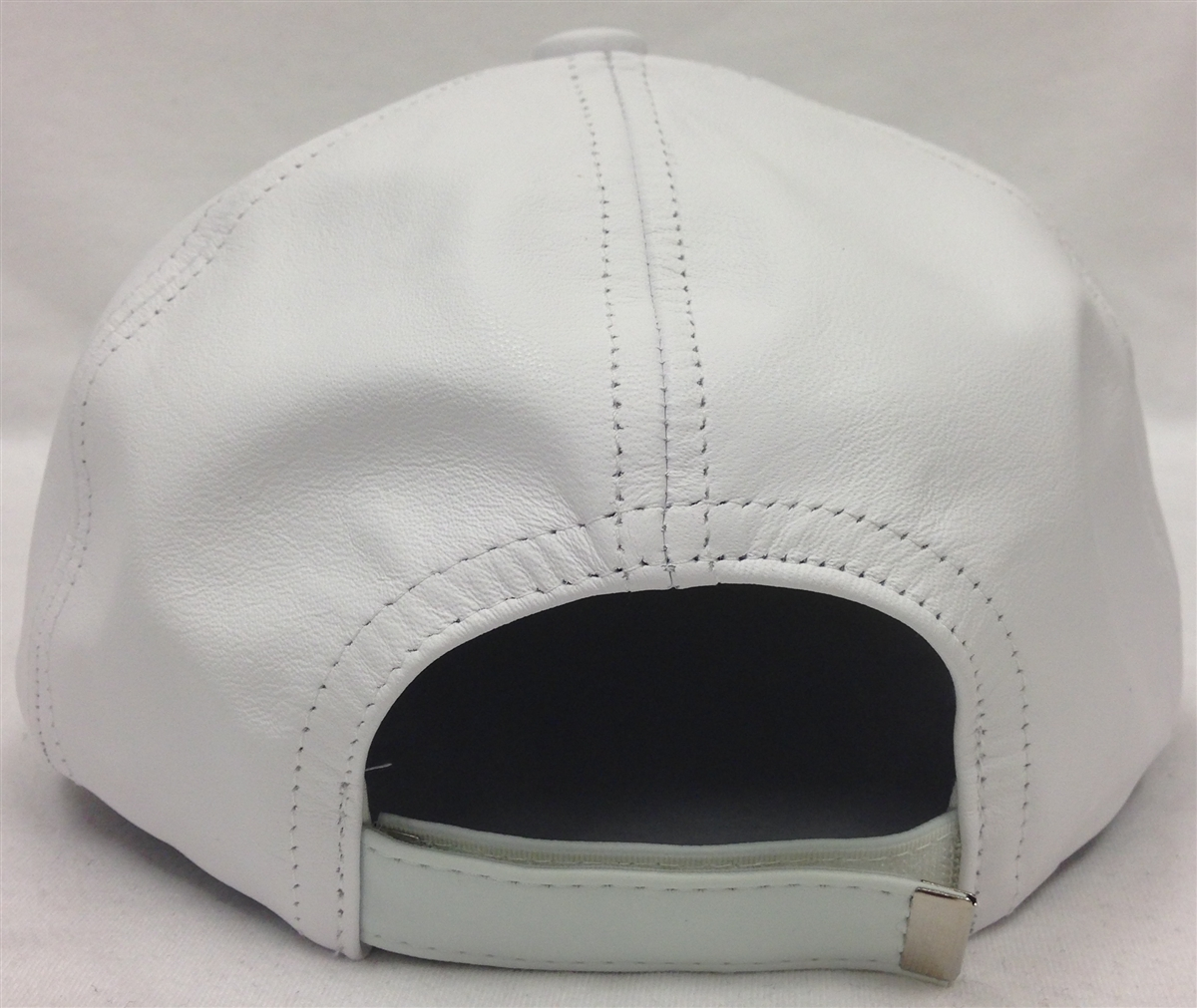 White Leather 6 Panel Baseball Cap Adjustable Strap fd61eaf2188