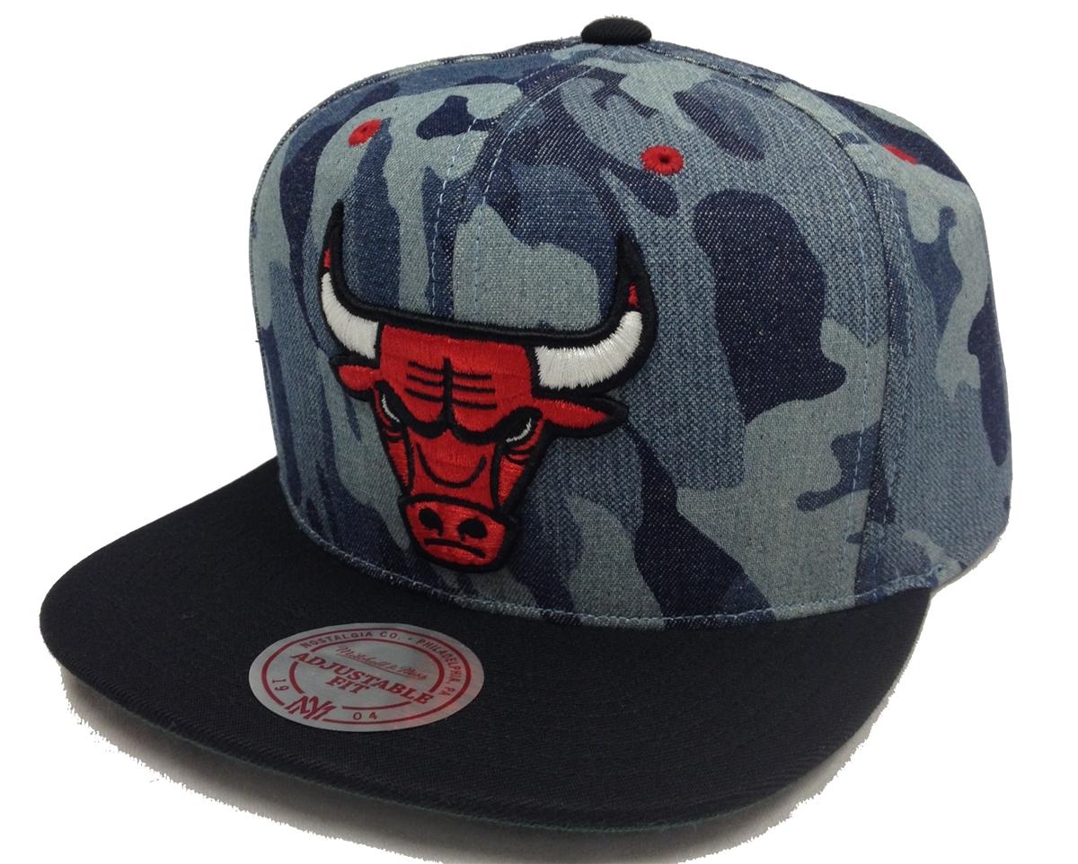 Mitchell   Ness Camouflage Denim Chicago Bulls Snapback a69f8b93be01