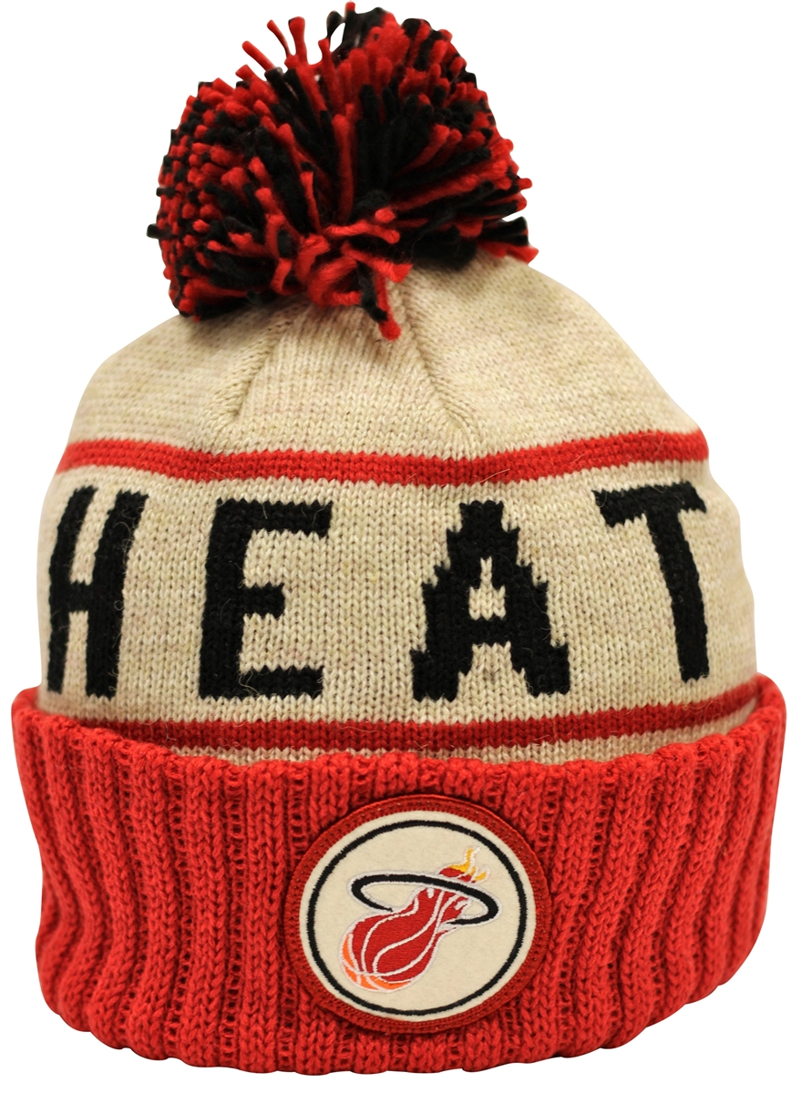 6c2654ea3d5 ... official store mitchell ness oatmeal heather crown miami heat beanie  e8933 133ba