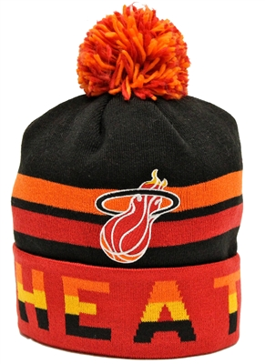 f44172565 Mitchell & Ness Thick Ribbed Miami Heat Red Beanie