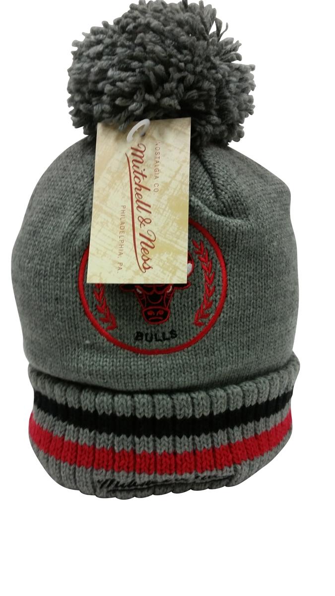 Mitchell   Ness Soft Acrylic Knit Over Sized Pom Chicago Bulls Beanie Gray 067f47a0ab8