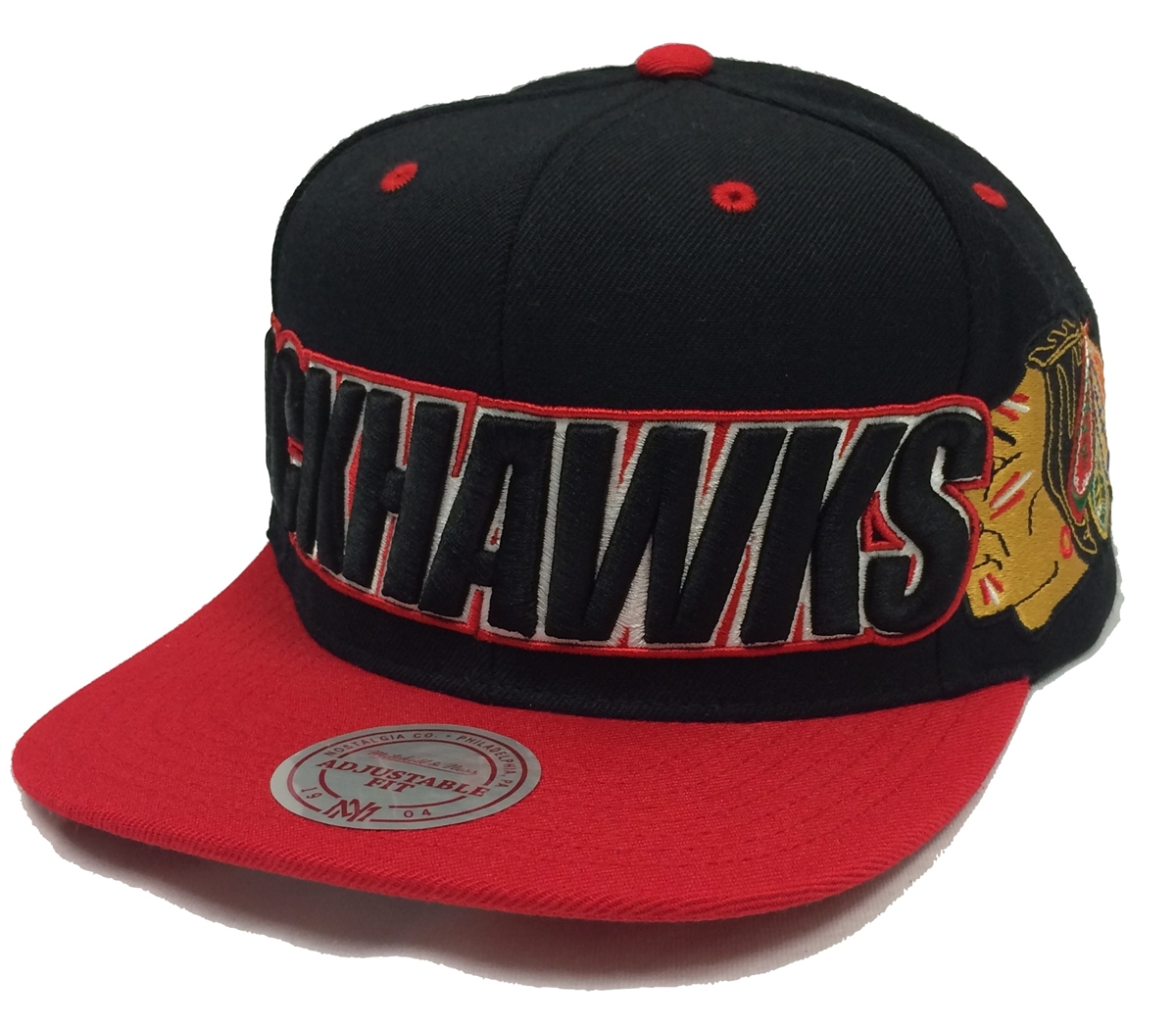 a8c1c69dc7ac8 Mitchell   Ness Wordmark Chicago Blackhawks Black   Red Snapback
