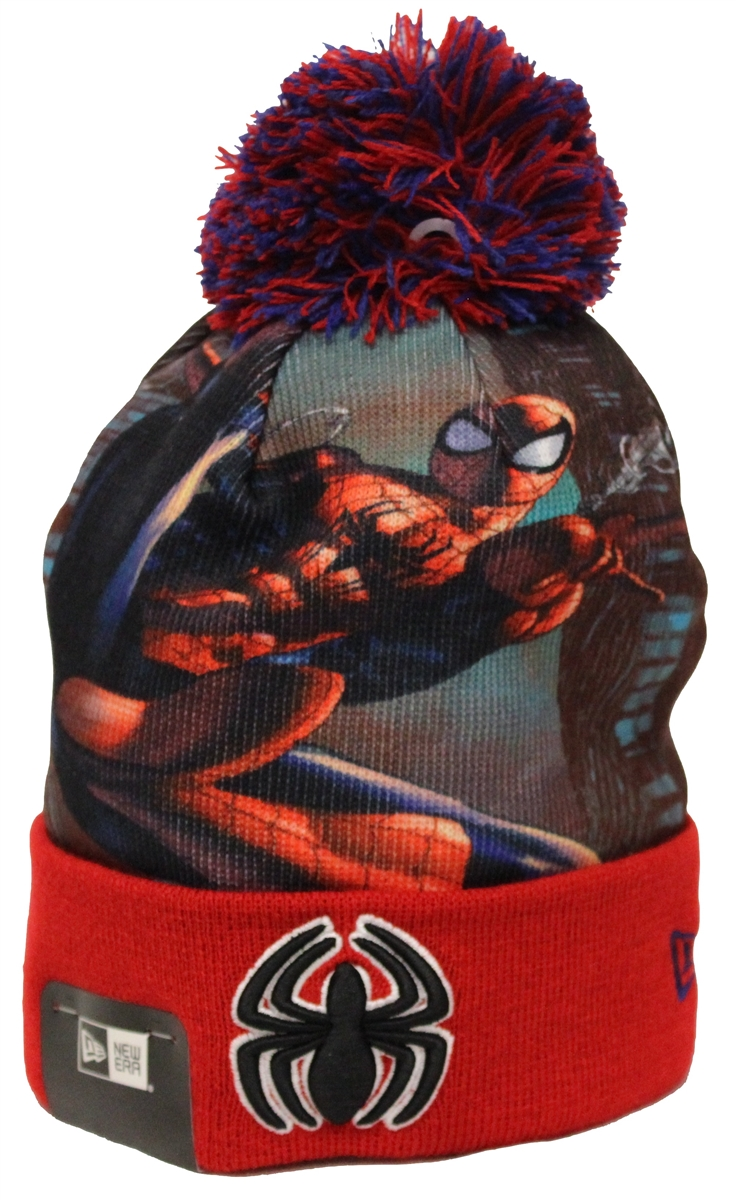dd21028d3b9 New Era All Out Spiderman Red Pom Beanie