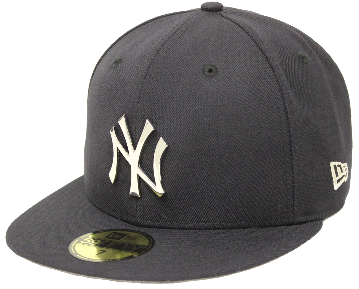 b3236cffe02b4 New Era 59Fifty New York Yankees Silver Metal Badge Navy Fitted ...