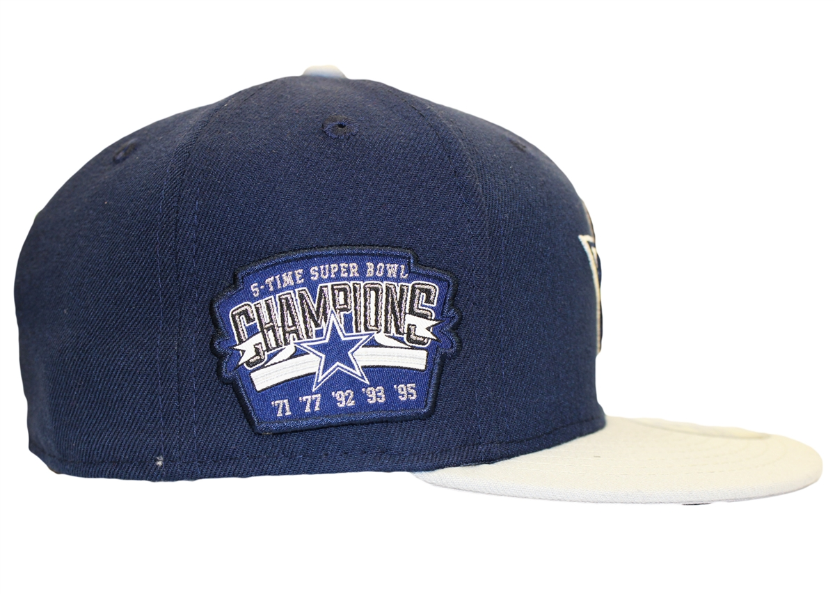 New Era 59Fifty Dallas Cowboys 5-Times Super Bowl Championship Navy Gray Fitted  Hat 05713c30c