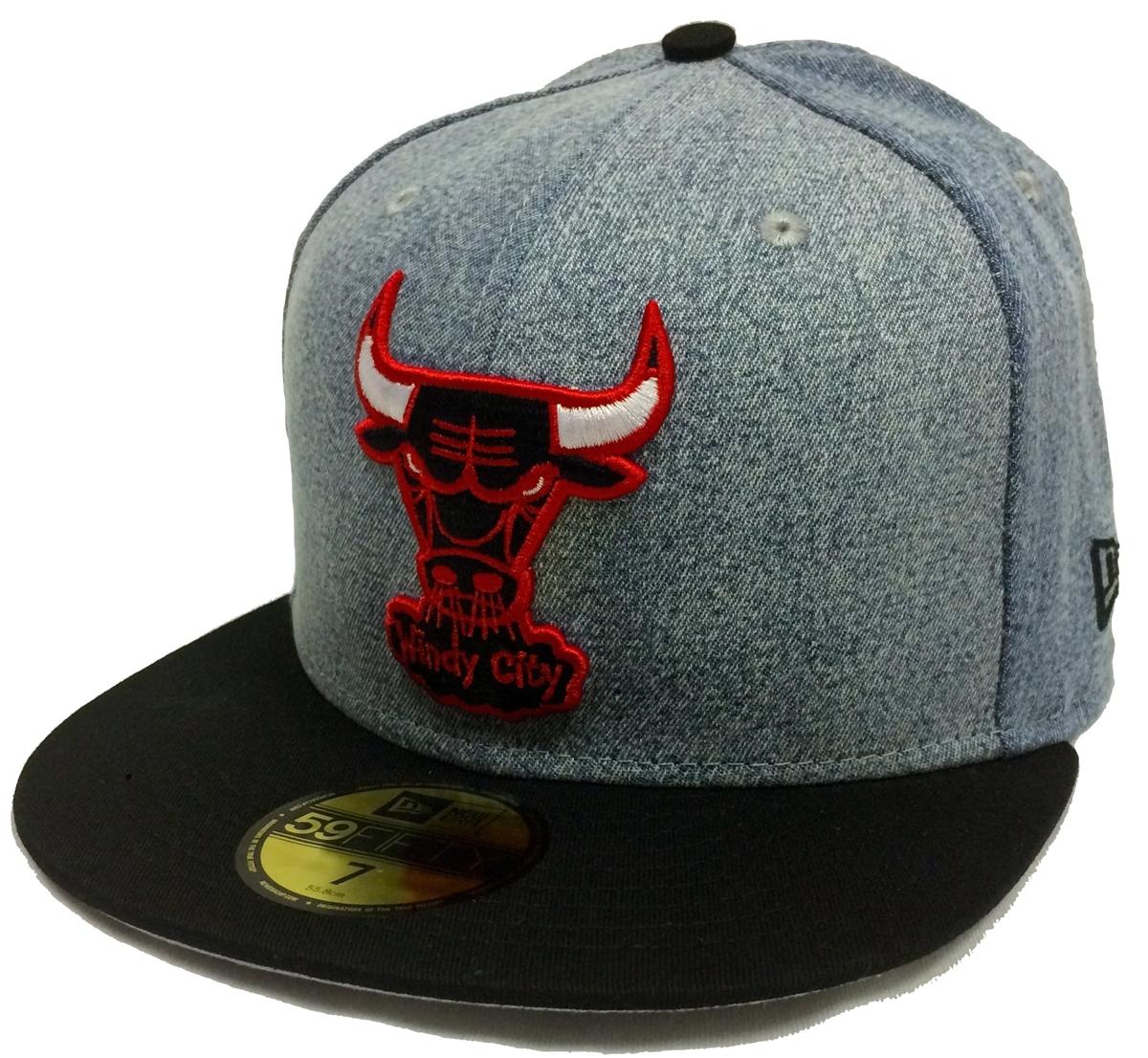 6634eccbb46 New Era 59Fifty Denim Grunger Chicago Bulls Blue   Black Fitted Cap