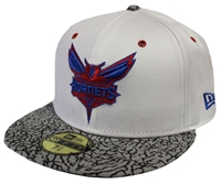 181d15bf92f New Era 59Fifty Kicks Hook Charlotte Hornets White And Gray Fitted Hat  Jordans 3 True Blue