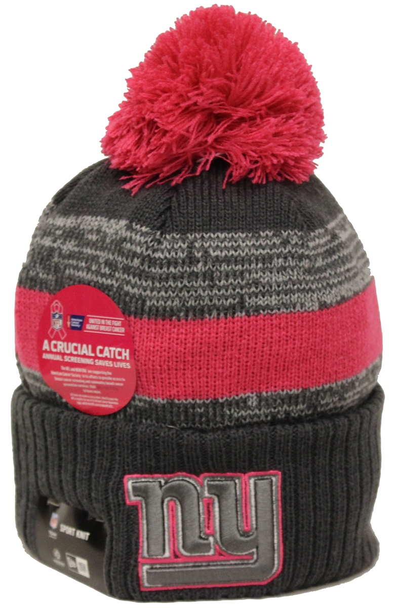 d8c5731ffc1 New Era NFL16 BCA New York Giants Gray Pink Pom Beanie