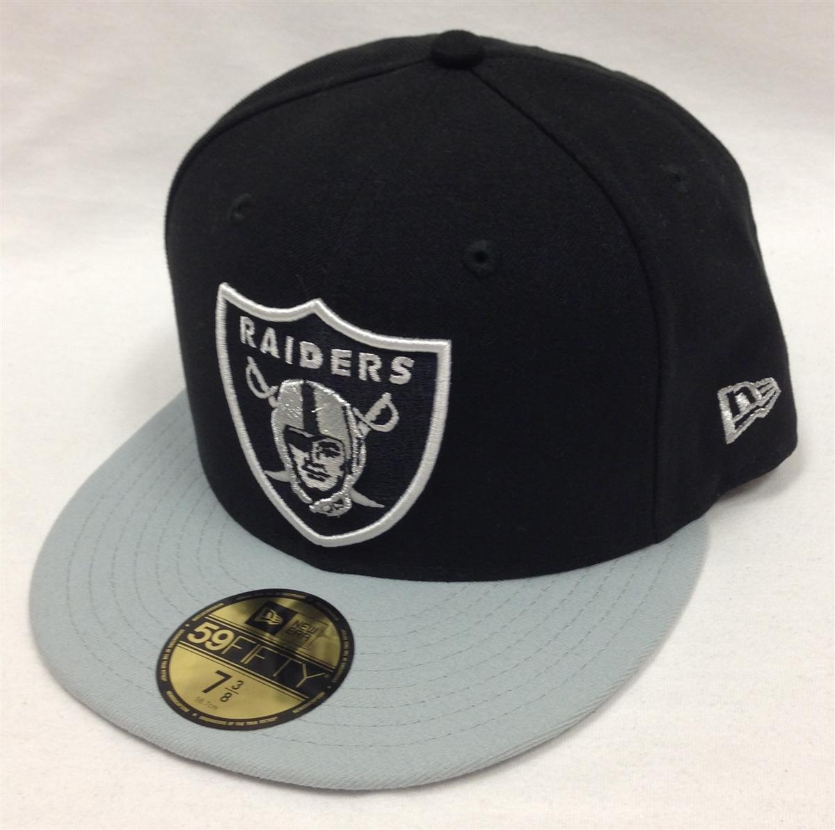 New Era 59Fifty Black Team Oakland Raiders Black   Gray Fitted Cap 6ced37e0988