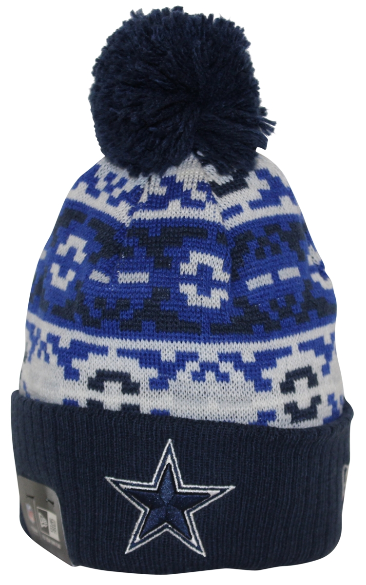 New Era Retro Chill Dallas Cowboys Navy Blue White Pom Beanie 121c37b20b3