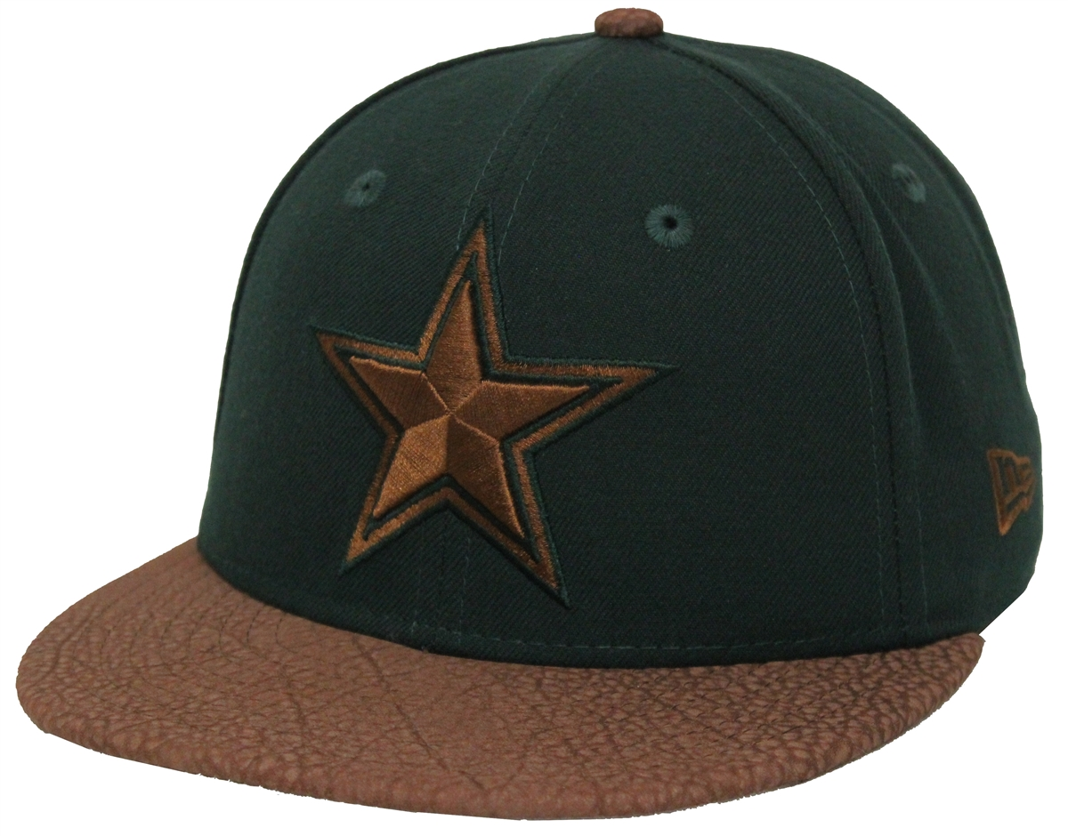 bb02332d07555e New Era 59Fifty Rugged Leather Dallas Cowboys Green Brown Fitted ...