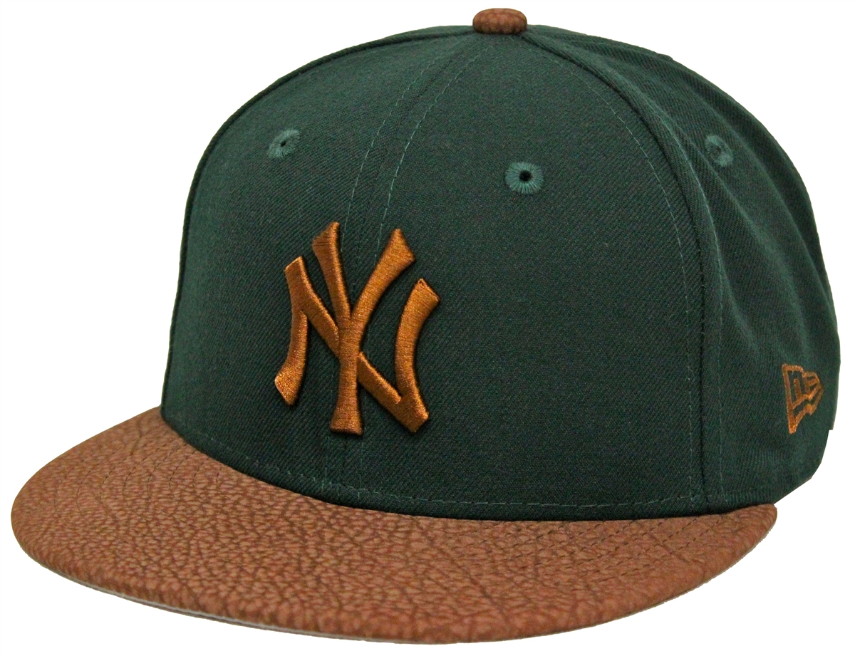 New Era 59Fifty Rugged Leather New York Yankees Green Brown ... fa2267a7a92