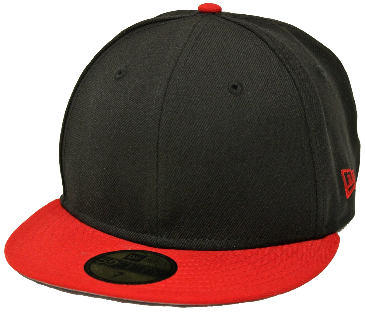 39fff1a8 New Era 59Fifty Plain Black Red Fitted Cap Blank 2 Tone Gray Underbrim Hat  Bred