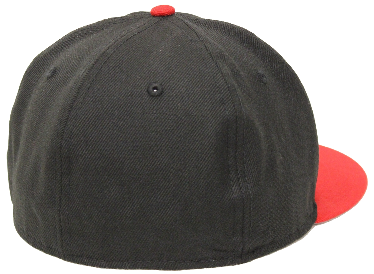 purchase cheap fcaa2 1bde2 New Era 59Fifty Plain Black Red Fitted Cap Blank 2 Tone Gray Underbrim Hat  Bred