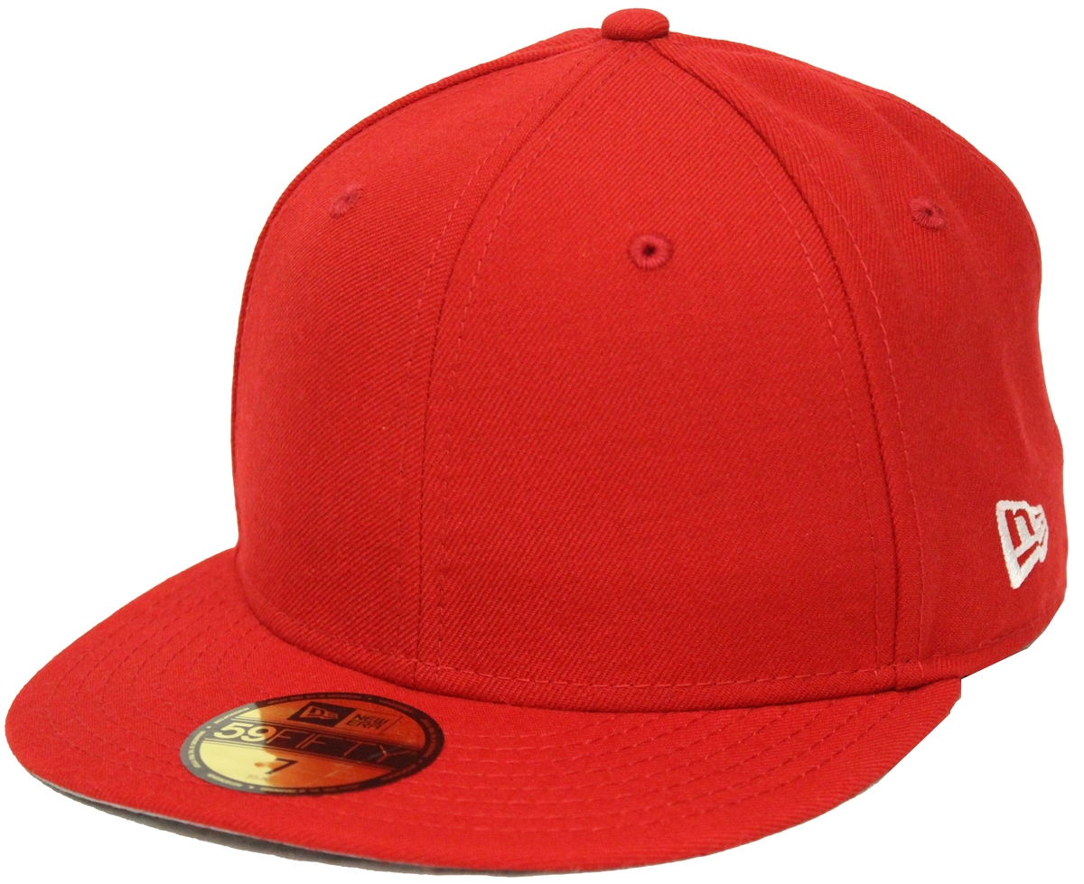 7a4b0c40 New Era 59Fifty Plain Red Blank Fitted Cap Gray Underbrim Hat Bred New Era  Side Patch