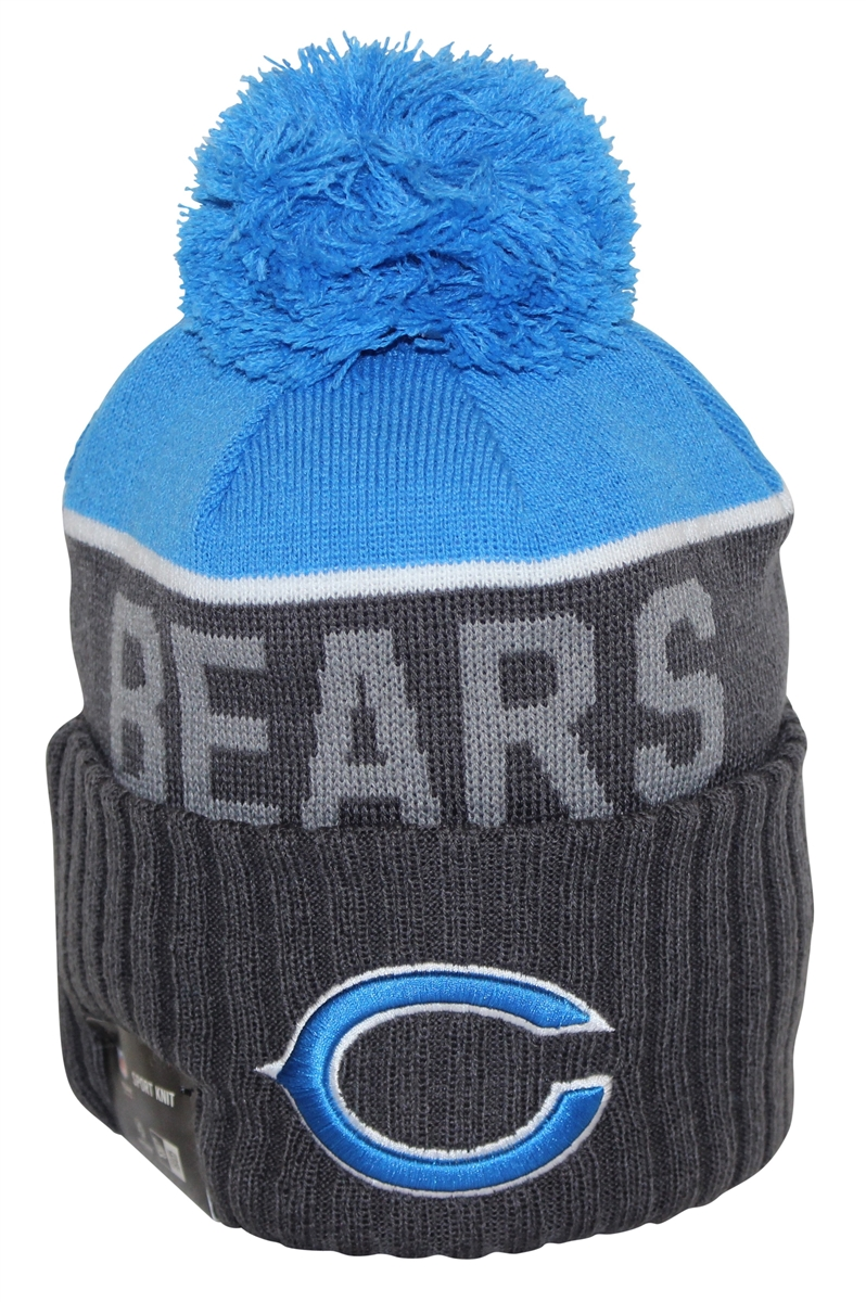 New Era NFL15 Sport Knit Chicago Bears Charcoal Blue Pom Beanie c6512e7979b