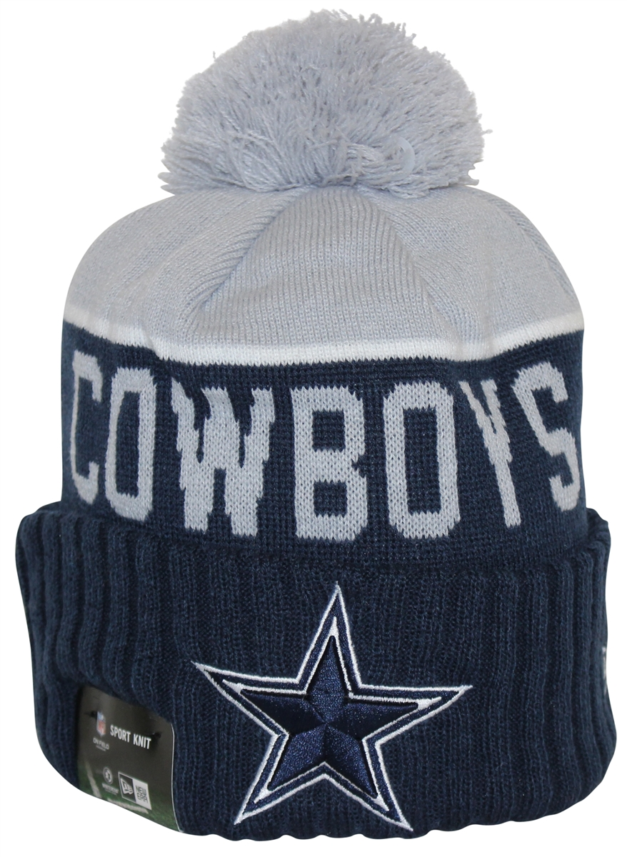 4878b556 New Era NFL15 On-Field Sport Knit Dallas Cowboys Navy Gray Pom Beanie