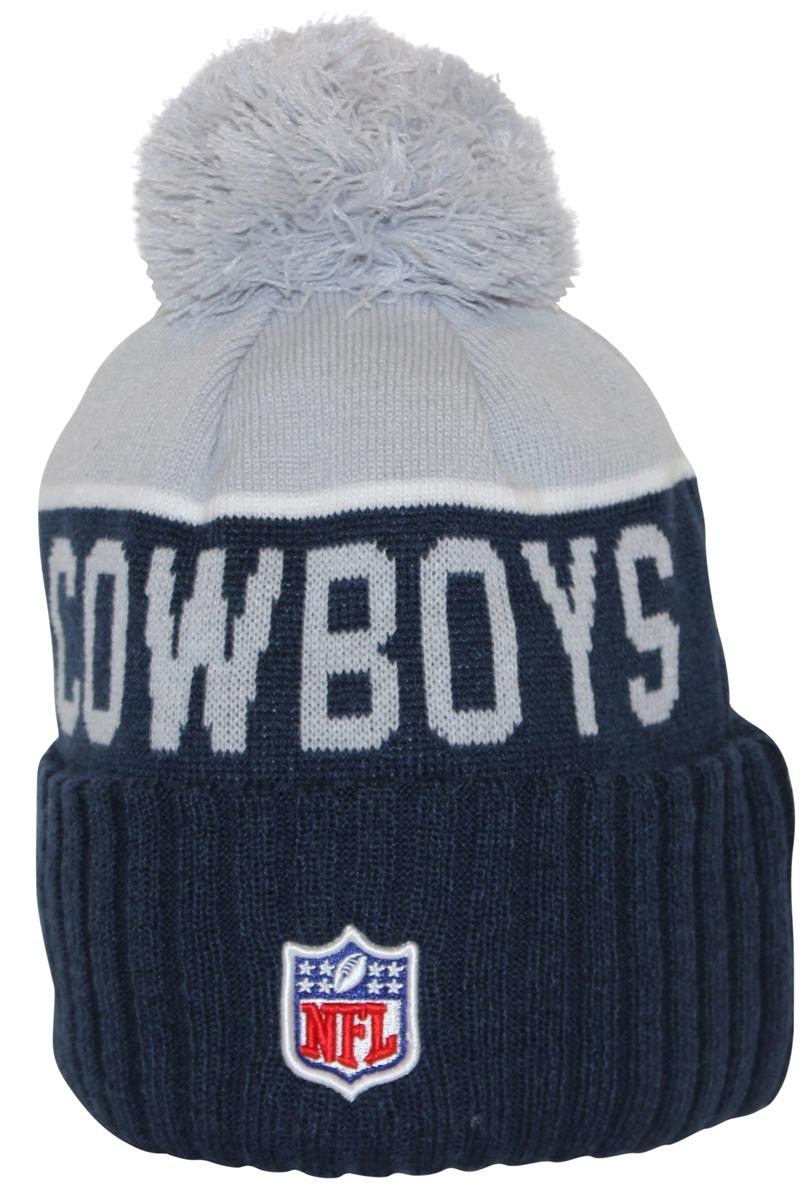 4f710d0cf84ee New Era NFL15 On-Field Sport Knit Dallas Cowboys Navy Gray Pom Beanie