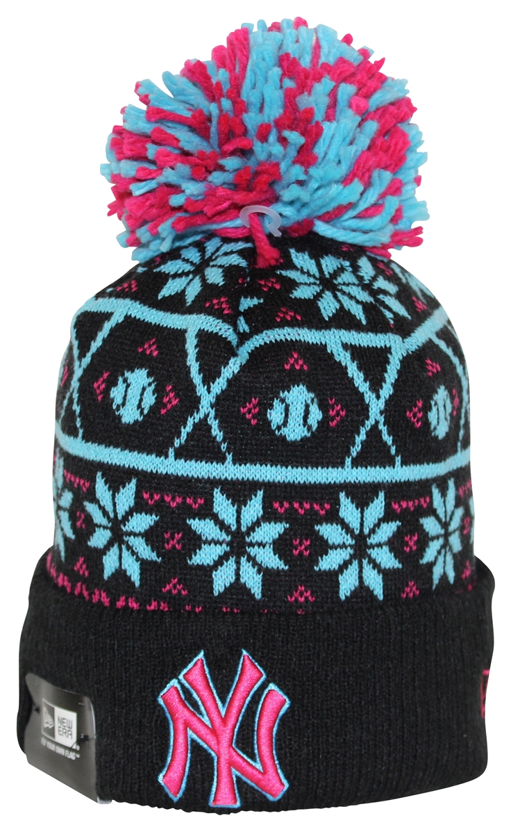 New Era Sweater Chill New York Yankees Black Pink Teal Pom Beanie fb6e25f46ff