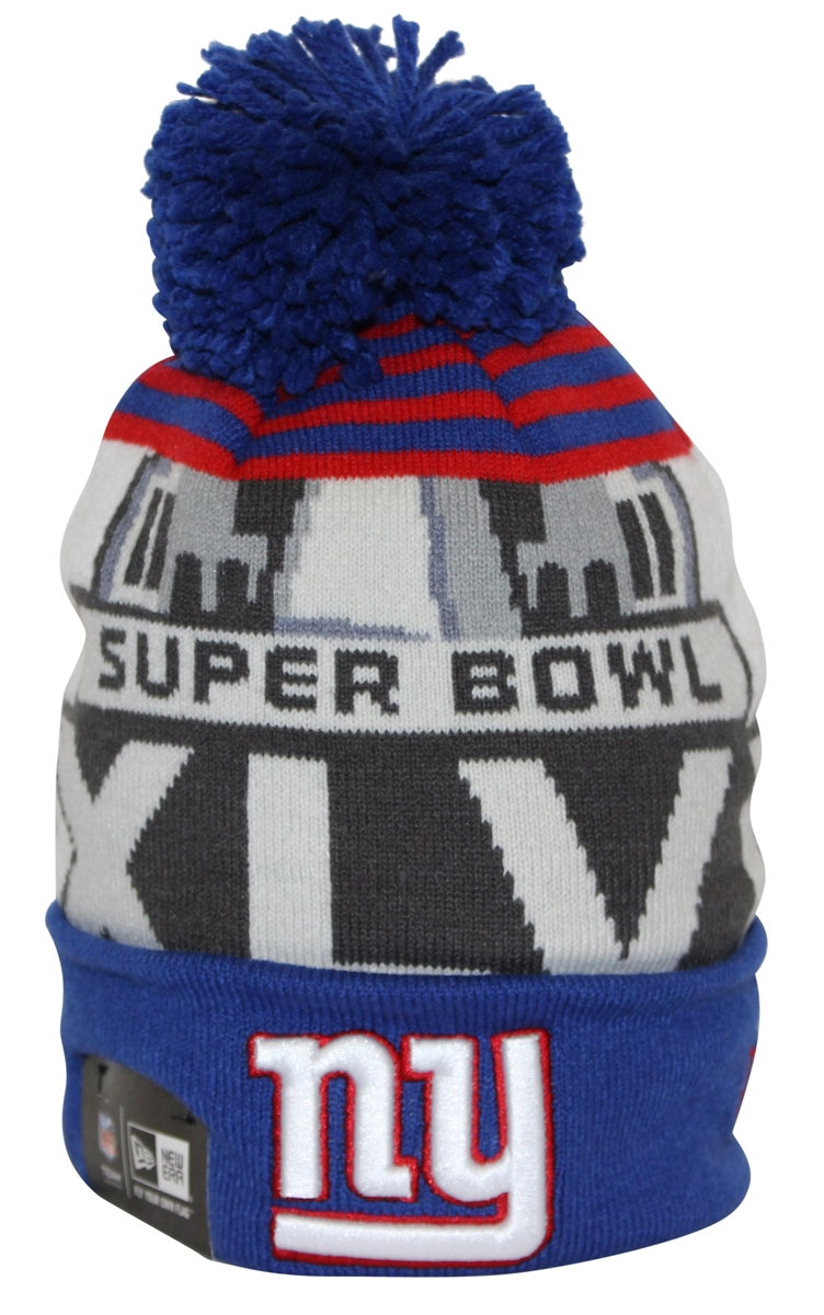 2286923cab1 New Era Team Cuff XLVI New York Giants Blue Red White Pom Beanie