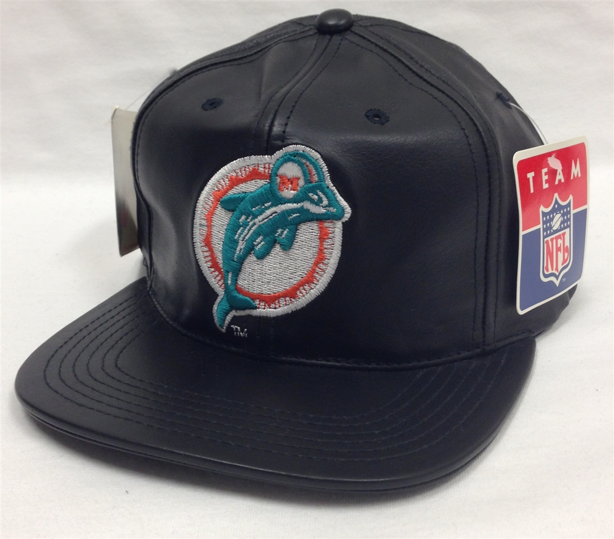 3321e503 Team NFL Miami Dolphins Black Leather Snapback