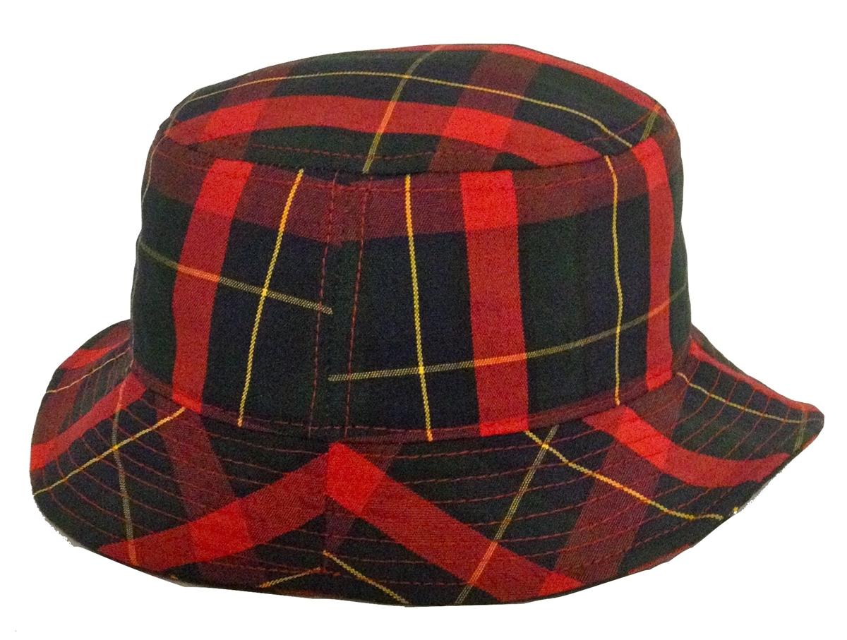 Red Navy Green Yellow Plaid Bucket Hat ec7785f1095