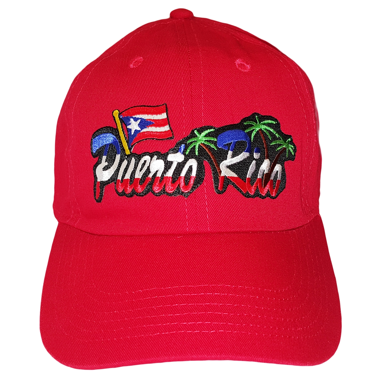 Red Puerto Rico Adjustable Dad Hat Strapback Patch 01d99d21dac